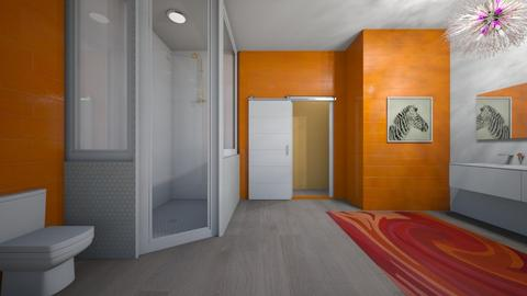 Orange and White Bathroom - Modern - Bathroom  - by jordynclark