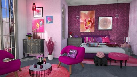 purple and pink bedroom - Bedroom  - by Moonpearl