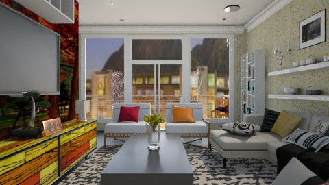mural and wallpaper  - Classic - Living room  - by Nhezi