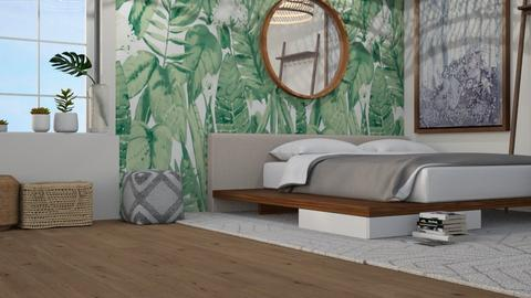 Tropical Leaves - Modern - Bedroom  - by NEVERQUITDESIGNIT