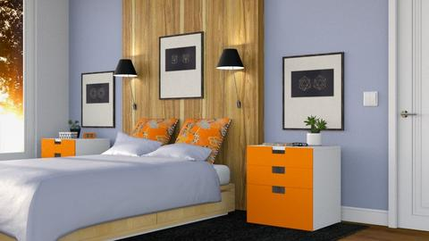Orange and Blue Bedroom - Bedroom  - by GraceKathryn