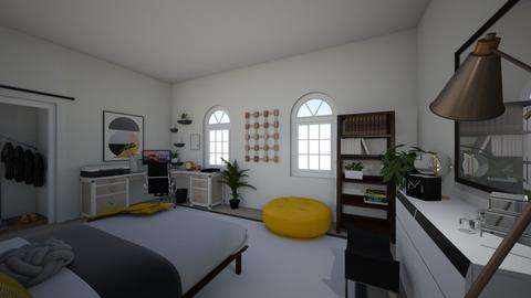Mustard Yellow Bedroom - Modern - Bedroom  - by corgibutt