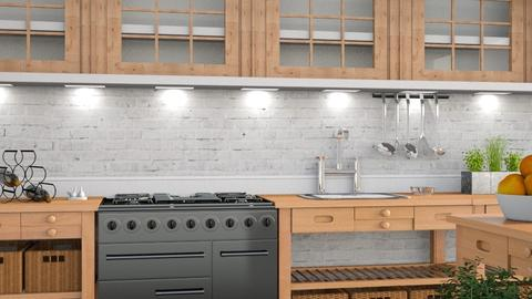 White Brick - Rustic - Kitchen  - by millerfam