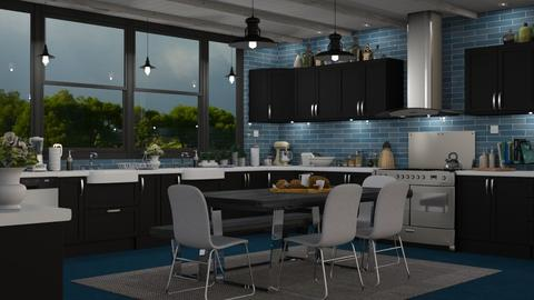 Blue Kitchen - Kitchen  - by GraceKathryn