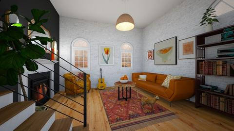 orange and white apt - Living room  - by PaisleyApril26