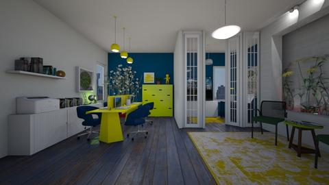 Blue yellow green office - by Themis Aline Calcavecchia