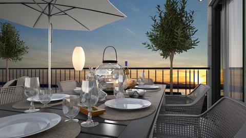 July terrace dining - by TTD
