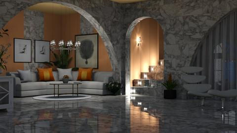 Orange white - Modern - Living room  - by ZsuzsannaCs