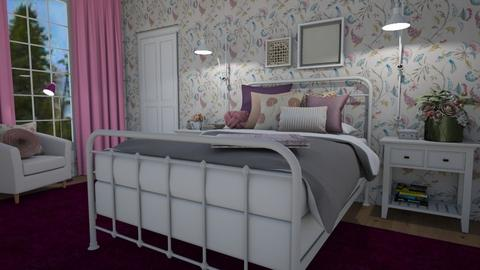 Pink and purple - Bedroom  - by Tuija