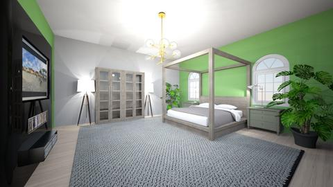 green modern bedroom - Modern - Bedroom  - by smithk68