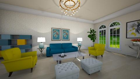 Blue and Yellow - Living room  - by CassW