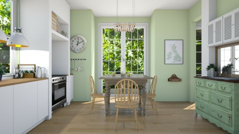 Green Kitchen - Country - Kitchen  - by Emily Bennett