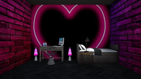 neon gamer girl room  - Retro - Bedroom  - by aschaper