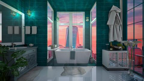 Turquoise toilet - Bathroom - by diegobbf