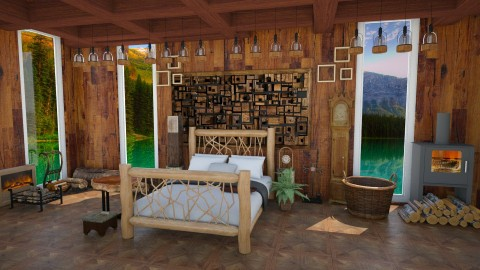 Log Cabin - Rustic - Bedroom  - by InteriorDesigner111