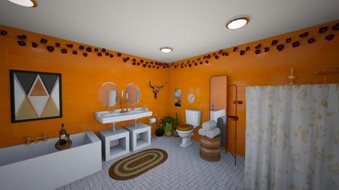 orange and white bathroom - Bathroom  - by 32103sarah