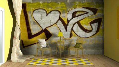 Yellow room - Living room - by langerreka