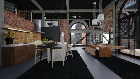 black ceiling - Modern - Kitchen  - by Evangeline_The_Unicorn