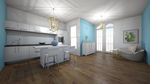 Grecka kuchnia z salonem - Kitchen  - by MeraEraLu