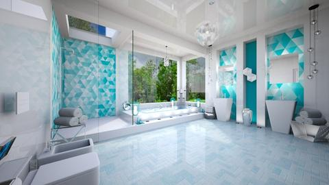 Turquoise silver bathroom - Bathroom - by Alexandra_21