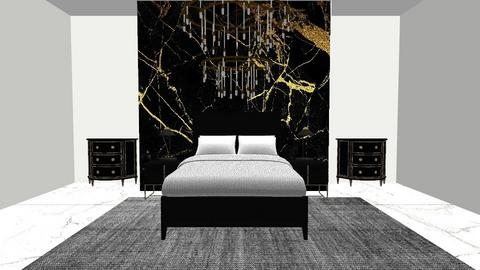 Black and Gold Master Bed - Classic - Bedroom  - by Lambogirl