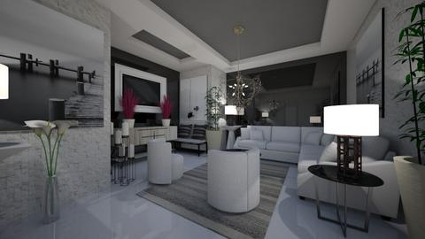 Chique_White_Black_Living - Modern - Living room  - by Nikos Tsokos