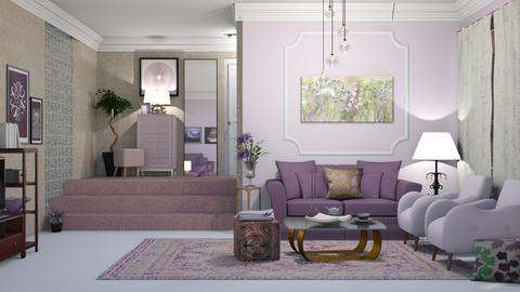 pink purple Living ROOM - Living room  - by nat mi