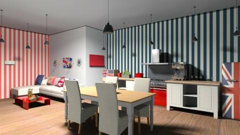 Union Jack Based Kitchen - Rustic - Kitchen  - by Charlotte Tayeh