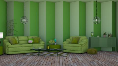 Green - Retro - Living room  - by Twice and Momo