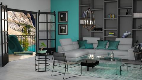 Turquoise metal gold  - Living room - by snjeskasmjeska