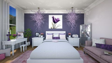 Pink Purple Bedroom - Bedroom  - by mandalea545