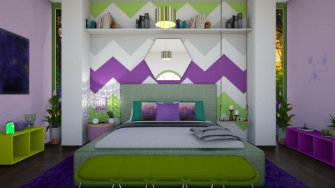 green and purple bedroom - by abbigoodwin