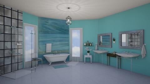 turquoise bathroom - by fippydude