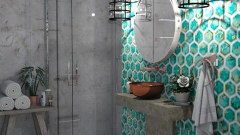 tirquise tiles - Bathroom  - by snjeskasmjeska