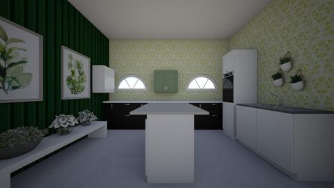Green and White - Classic - Kitchen  - by hannahelise