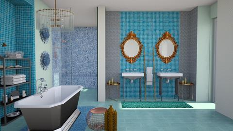 turquoise and metal bathr - Bathroom - by Moonpearl