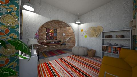 Boho rainbow studio apt - Rustic - Living room - by HIHELLOHI