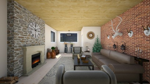 Rustic_Cabin - Rustic - Living room  - by rosecourtsdesigns