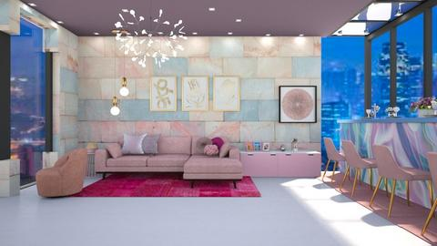 pink living room - Living room  - by nihalruttala