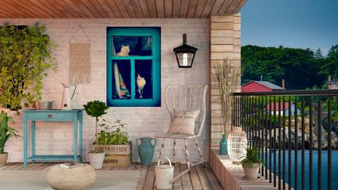 Summer Wooden Porch - Rustic - Garden  - by Sally Simpson