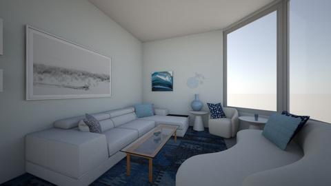 White Blue Living Room - Living room  - by TheBlueRoomDesigns