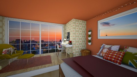 Mod Loft - Retro - Bedroom  - by lhedrick98