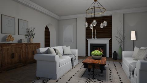 Cream and wood - Living room  - by Tuija