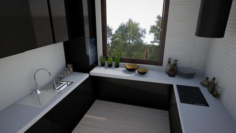 3 kitchen black and white - Kitchen  - by ewcia3666