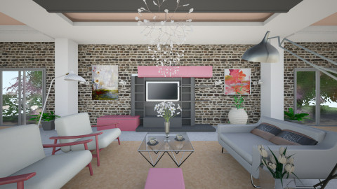 Pinky - Retro - Living room  - by Saj Trinaest