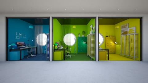 Color Coded Cubicles YBG - Office - by luna smith