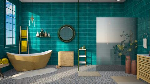 Turquoise and  Gold  - Bathroom - by Anjuli