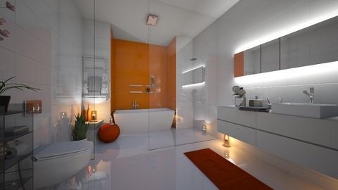 Orange White Bathroom - Modern - Bathroom  - by Eszter Potor