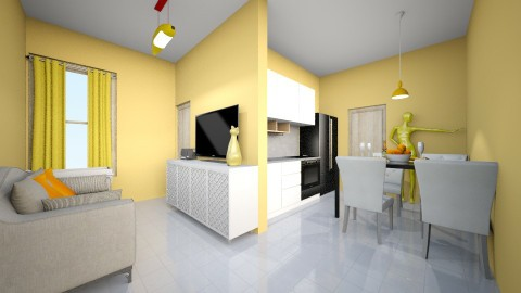 Mini loft yelow - Retro - Living room  - by kelly lucena