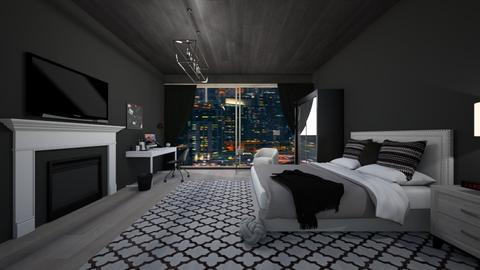 black and white bedroom - Feminine - Bedroom  - by Roomplaner321